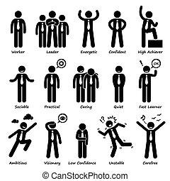 forretningsmand, holdning, personligheder
