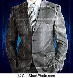 forretningsmand, hos, baggrund, i, glødende, linjer