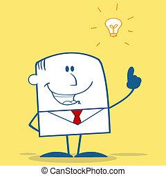 forretningsmand, hos, en, lys ide