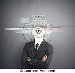 forretningsmand, hos, kamera security