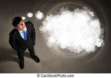 forretningsmand, image, top udsigt