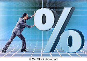 forretningsmand, ind, høj, interesse kurs, begreb