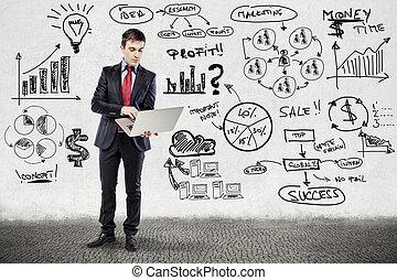 forretningsmand, ind, tøjsæt, og, branche planlæg, på, grunge, mur