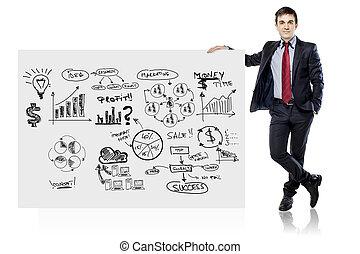 forretningsmand, ind, tøjsæt, og, branche planlæg, på hvide, planke