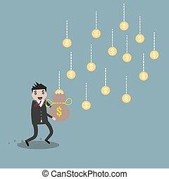 forretningsmand, indtægt, cartoon, penge