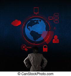 forretningsmand, kigge hos, 3, verden, hos, hængelås, idet, security internet, online, begreb branche
