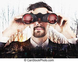 forretningsmand, kigge, til, fremtiden