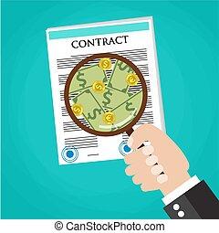 forretningsmand, kontrakt, checking, cartoon, hånd