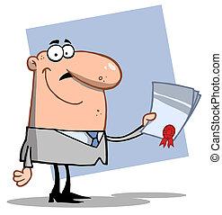 forretningsmand, kontrakt, hånd