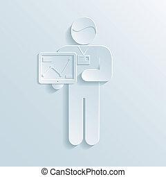 forretningsmand, kort, tablet