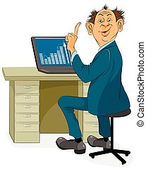 forretningsmand, laptop