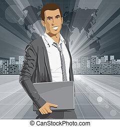 forretningsmand, laptop, vektor