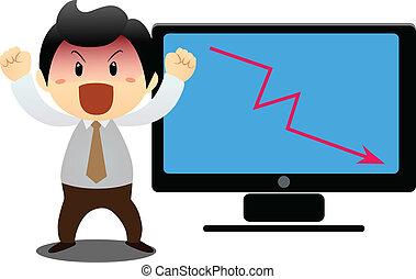 forretningsmand, laptop's, show