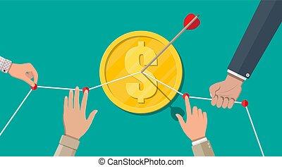 forretningsmand, mønt, pil, pege, hånd
