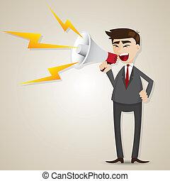 forretningsmand, megafon, cartoon
