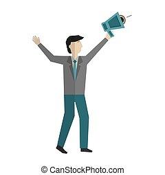 forretningsmand, megafon, karakter, avatar
