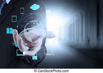 forretningsmand, moderne teknologi, show