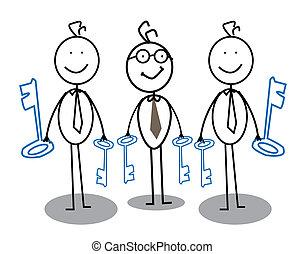 forretningsmand, nøgle, gruppe
