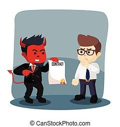 forretningsmand, offer, kontrakt