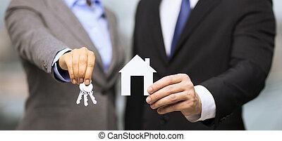 forretningsmand, og, businesswoman, holde, hvidt hus