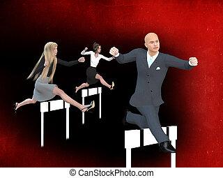 forretningsmand, og, businesswomen, ind, en, hurdle væddeløb