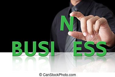 forretningsmand, og, glose, firma