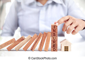forretningsmand, og, hjem, model, forsikring, begreb
