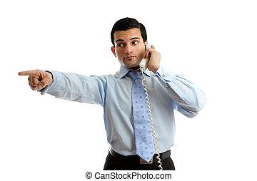 forretningsmand, på, telefon, pege