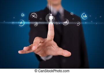 forretningsmand, påtrængende, moderne, sociale, type, i, iconerne