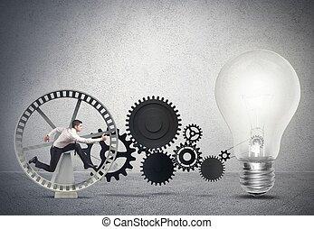 forretningsmand, powering, en, ide