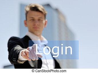 forretningsmand, presse, virtuelle, login, knap
