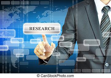 forretningsmand, røre, forskning, tegn, på, virtuelle, skærm