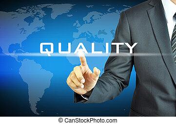 forretningsmand, røre, kvalitet, tegn, på, virtuelle, skærm