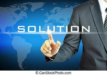forretningsmand, røre, løsning, tegn, på, virtuelle, skærm
