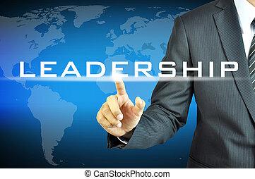 forretningsmand, røre, ledelse, tegn, på, virtuelle, skærm