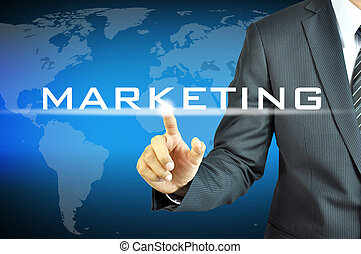 forretningsmand, røre, markedsføring, tegn, på, virtuelle, skærm