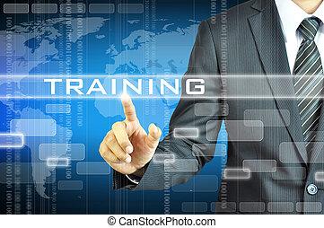 forretningsmand, røre, oplæring, tegn, på, virsual, skærm