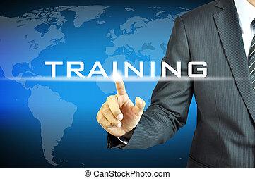 forretningsmand, røre, oplæring, tegn, på, virtuelle, skærm