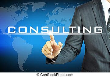 forretningsmand, røre, rådgivende, tegn, på, virtuelle, skærm