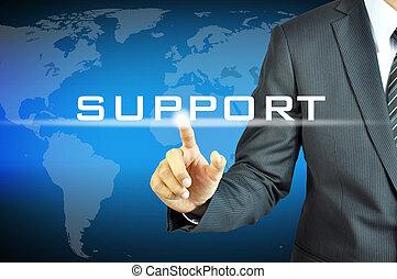 forretningsmand, røre, understøttelse, tegn, på, virtuelle, skærm