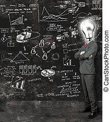 forretningsmand, reflekter på, nye ideer