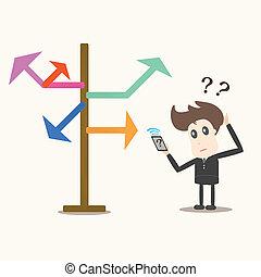 forretningsmand, retning, arrows., valg, forside