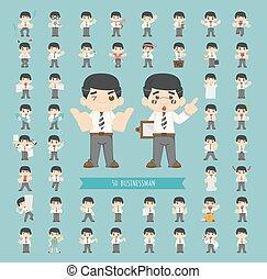 forretningsmand, sæt, karakter