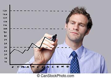 forretningsmand, screen., glas, affattelseen