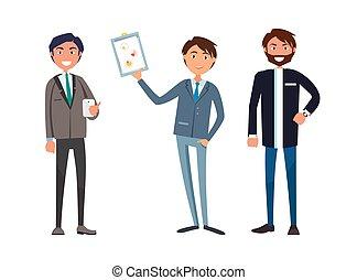 forretningsmand, selskab, møde, plan, firma