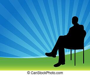 forretningsmand, siddende