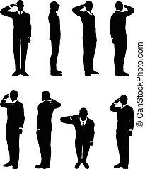 forretningsmand, silhuet, ind, saluting