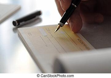 forretningsmand skrive, den, check