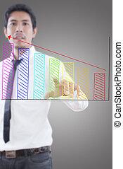 forretningsmand, skubbe, graph.