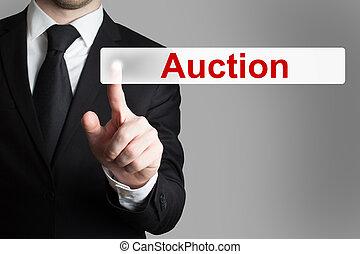forretningsmand, skubbe, knap, auktion